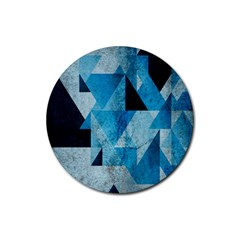 Plane And Solid Geometry Charming Plaid Triangle Blue Black Rubber Coaster (round)  by Mariart
