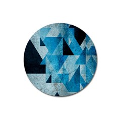 Plane And Solid Geometry Charming Plaid Triangle Blue Black Magnet 3  (round) by Mariart