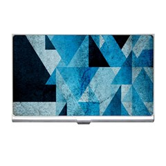 Plane And Solid Geometry Charming Plaid Triangle Blue Black Business Card Holders by Mariart