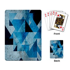 Plane And Solid Geometry Charming Plaid Triangle Blue Black Playing Card by Mariart