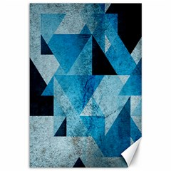 Plane And Solid Geometry Charming Plaid Triangle Blue Black Canvas 12  X 18   by Mariart