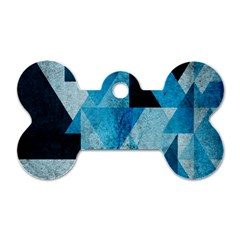 Plane And Solid Geometry Charming Plaid Triangle Blue Black Dog Tag Bone (one Side) by Mariart