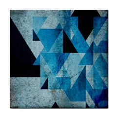 Plane And Solid Geometry Charming Plaid Triangle Blue Black Face Towel by Mariart