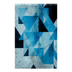 Plane And Solid Geometry Charming Plaid Triangle Blue Black Shower Curtain 48  X 72  (small)  by Mariart