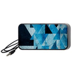 Plane And Solid Geometry Charming Plaid Triangle Blue Black Portable Speaker (black) by Mariart