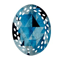 Plane And Solid Geometry Charming Plaid Triangle Blue Black Oval Filigree Ornament (two Sides) by Mariart