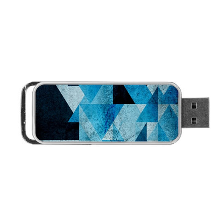 Plane And Solid Geometry Charming Plaid Triangle Blue Black Portable USB Flash (One Side)