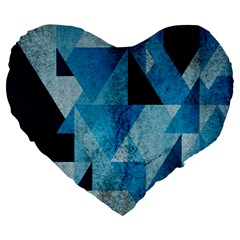Plane And Solid Geometry Charming Plaid Triangle Blue Black Large 19  Premium Heart Shape Cushions by Mariart