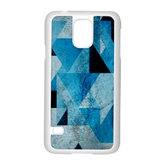 Plane And Solid Geometry Charming Plaid Triangle Blue Black Samsung Galaxy S5 Case (white) by Mariart
