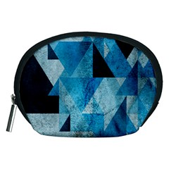 Plane And Solid Geometry Charming Plaid Triangle Blue Black Accessory Pouches (medium)  by Mariart