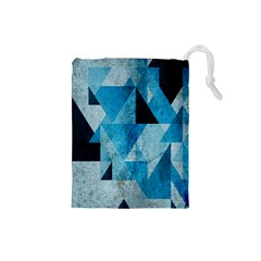 Plane And Solid Geometry Charming Plaid Triangle Blue Black Drawstring Pouches (small)  by Mariart