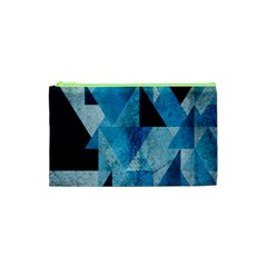 Plane And Solid Geometry Charming Plaid Triangle Blue Black Cosmetic Bag (xs) by Mariart