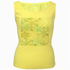 Sign Flower Floral Transparent Women s Yellow Tank Top