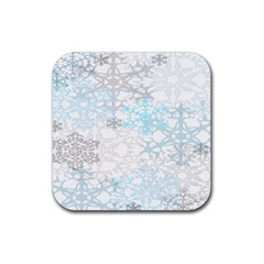 Sign Flower Floral Transparent Rubber Square Coaster (4 Pack)  by Mariart