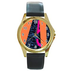Recursive Reality Number Round Gold Metal Watch by Mariart