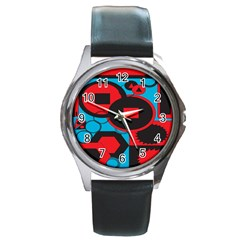 Stancilm Circle Round Plaid Triangle Red Blue Black Round Metal Watch by Mariart