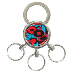 Stancilm Circle Round Plaid Triangle Red Blue Black 3 Ring Key Chains by Mariart