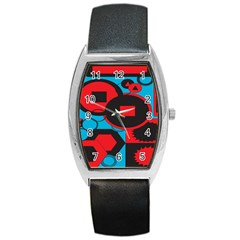 Stancilm Circle Round Plaid Triangle Red Blue Black Barrel Style Metal Watch by Mariart