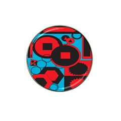 Stancilm Circle Round Plaid Triangle Red Blue Black Hat Clip Ball Marker by Mariart