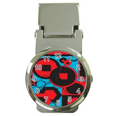 Stancilm Circle Round Plaid Triangle Red Blue Black Money Clip Watches by Mariart