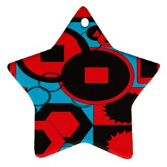 Stancilm Circle Round Plaid Triangle Red Blue Black Star Ornament (two Sides) by Mariart