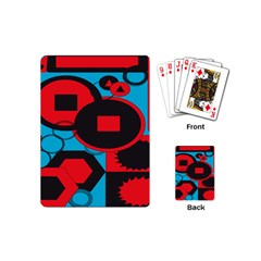 Stancilm Circle Round Plaid Triangle Red Blue Black Playing Cards (mini)  by Mariart