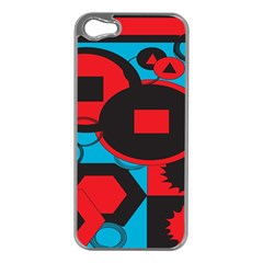 Stancilm Circle Round Plaid Triangle Red Blue Black Apple Iphone 5 Case (silver) by Mariart