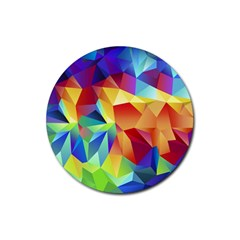 Triangles Space Rainbow Color Rubber Round Coaster (4 Pack)  by Mariart