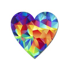 Triangles Space Rainbow Color Heart Magnet by Mariart