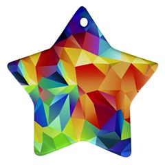 Triangles Space Rainbow Color Star Ornament (two Sides) by Mariart