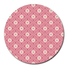 Sunflower Star White Pink Chevron Wave Polka Round Mousepads by Mariart