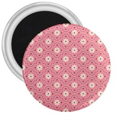 Sunflower Star White Pink Chevron Wave Polka 3  Magnets by Mariart