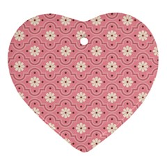 Sunflower Star White Pink Chevron Wave Polka Heart Ornament (two Sides) by Mariart
