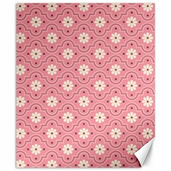 Sunflower Star White Pink Chevron Wave Polka Canvas 8  X 10