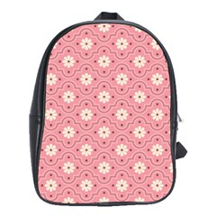 Sunflower Star White Pink Chevron Wave Polka School Bags(large)