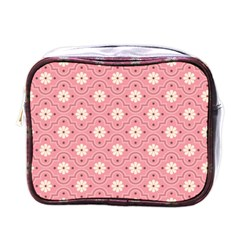 Sunflower Star White Pink Chevron Wave Polka Mini Toiletries Bags by Mariart