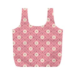 Sunflower Star White Pink Chevron Wave Polka Full Print Recycle Bags (m)  by Mariart