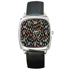 Skulls Bone Face Mask Triangle Rainbow Color Square Metal Watch by Mariart