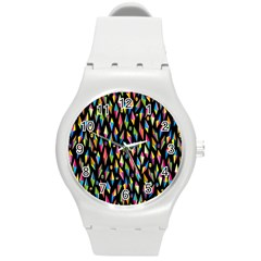Skulls Bone Face Mask Triangle Rainbow Color Round Plastic Sport Watch (m) by Mariart