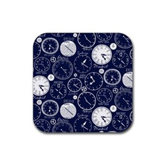 World Clocks Rubber Square Coaster (4 Pack)