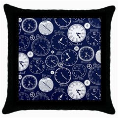 World Clocks Throw Pillow Case (black) by Mariart
