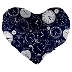 World Clocks Large 19  Premium Flano Heart Shape Cushions by Mariart