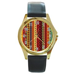 Tribal Grace Colorful Round Gold Metal Watch by Mariart