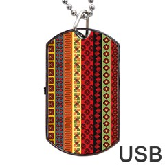 Tribal Grace Colorful Dog Tag Usb Flash (two Sides) by Mariart