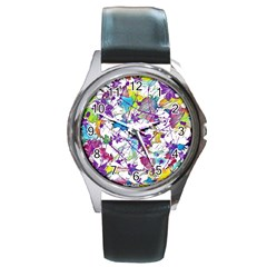 Lilac Lillys Round Metal Watch
