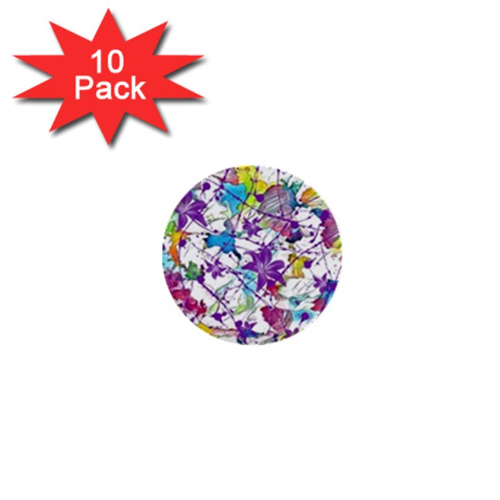 Lilac Lillys 1  Mini Buttons (10 pack)
