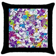 Lilac Lillys Throw Pillow Case (black)
