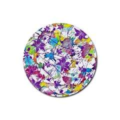 Lilac Lillys Rubber Round Coaster (4 Pack)  by designworld65