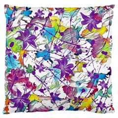 Lilac Lillys Large Flano Cushion Case (one Side)
