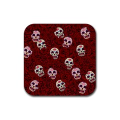Funny Skull Rosebed Rubber Coaster (square)  by designworld65